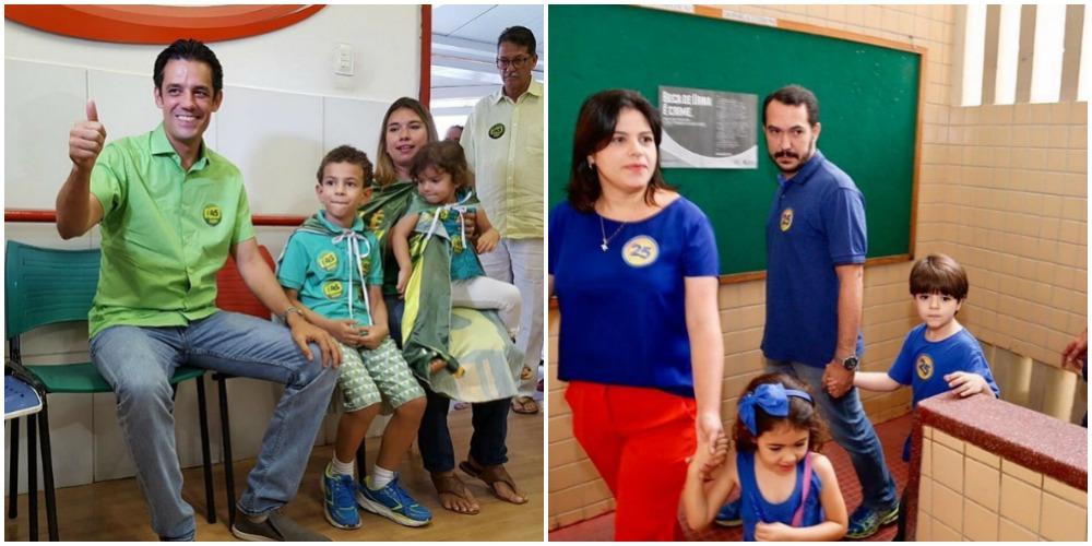 Tanto Daniel Coelho quanto Priscila Krause foram acompanhados de toda a família até o local de votação