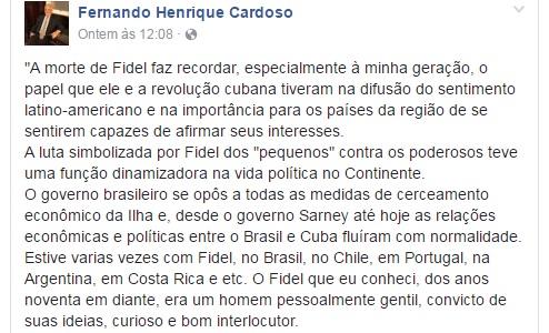 FHC chamou Fidel de gentil, curioso e bom articulador