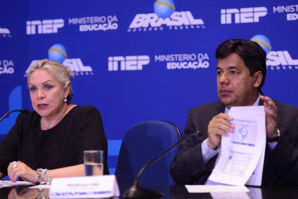 Maria Inês Fini, presidente do Inep, e Mendonça Filho, ministro da Educação