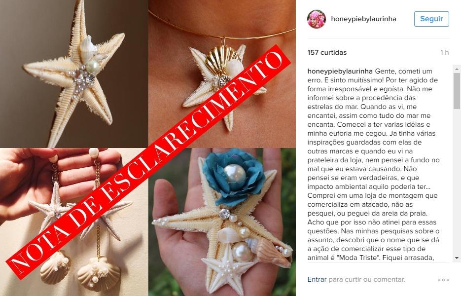 Laurinha Marinho publicou pedido de desculpas no Instagram