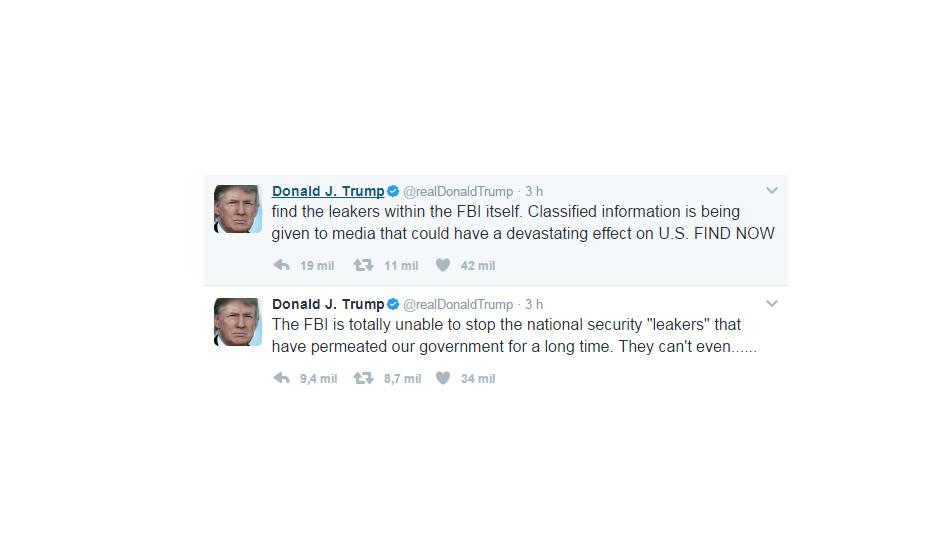 """""""Informações classificadas foram passadas à mídia, isso poderia ter um efeito devastador para os Estados Unidos. ENCONTREM ELES AGORA!"""", escreveu o presidente em um de seus tweets"""