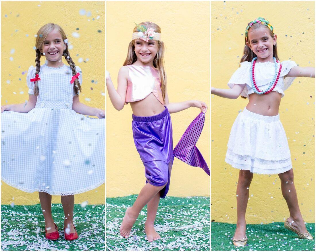 Dorothy do clássico Mágico de Oz, sereia e baiana entre as opções da Mactoot para a folia dos pequenos