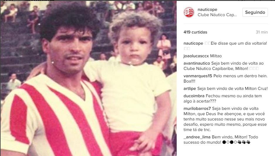 A notícia da contratação de Milton Cruz foi divulgada no Instagram do Náutico