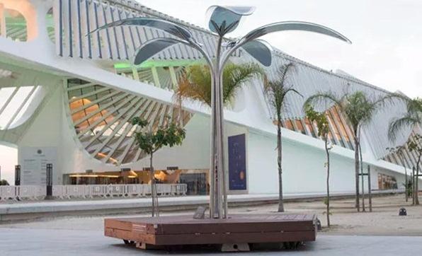 O modelo de uma das árvores artificias que serão instaladas na cidade do rock