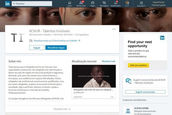 No site Talentos Invisíveis, criado pela Acnur, estão disponíveis currículos de refugiados e canais de contato para empregadores, mas exige cadastro no LinkedIn