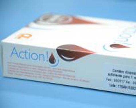 Embalagem do autoteste para detecção rápida do vírus HIV vendido em farmácias