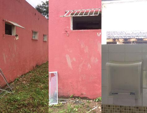 Arrombamento da janela do banheiro do Centro Elohim
