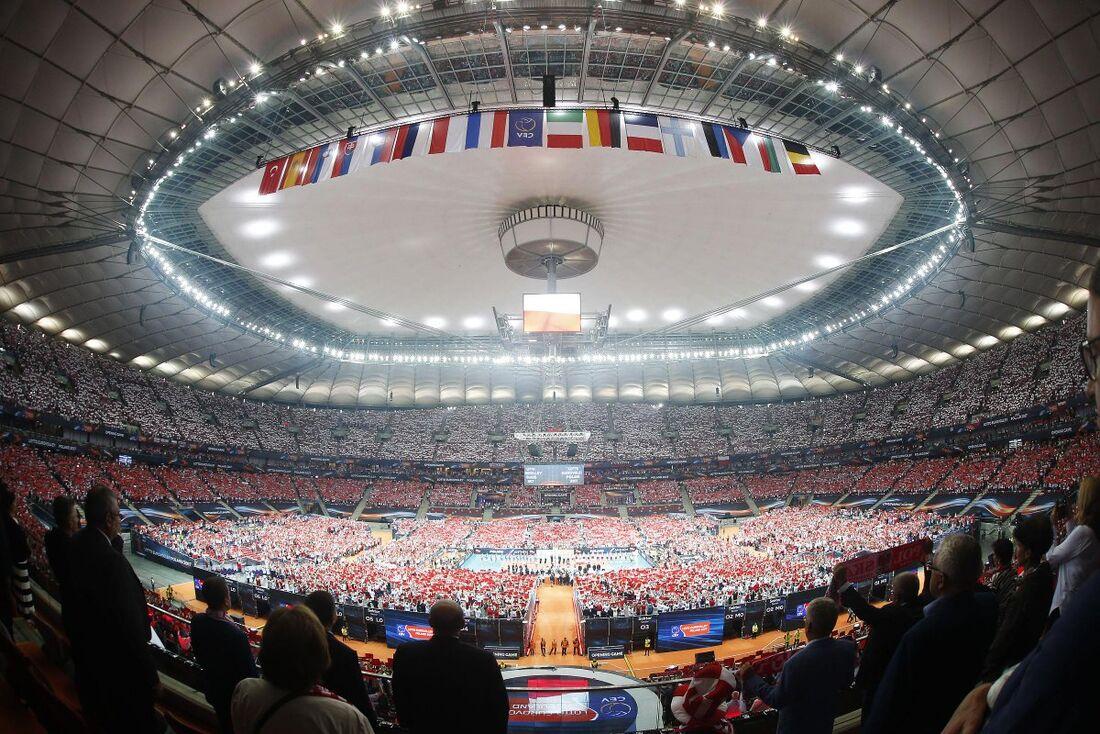 Panorâmica do Estádio Nacional de Varsóvia, na Polônia