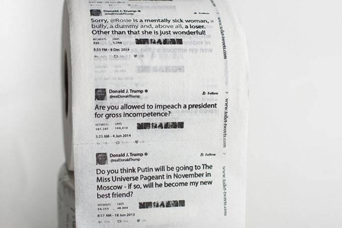 O papel de folhas duplas com dez tuítes do presidente americano