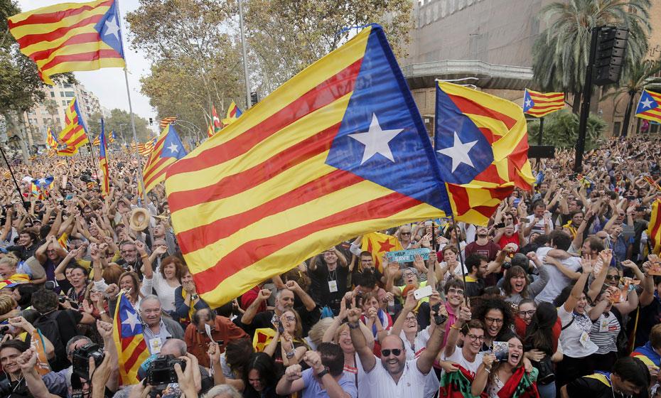 Manifestação pró independência em Beasain, na Catalunha
