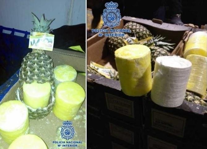 Cocaína armazenada dentro de abacaxis