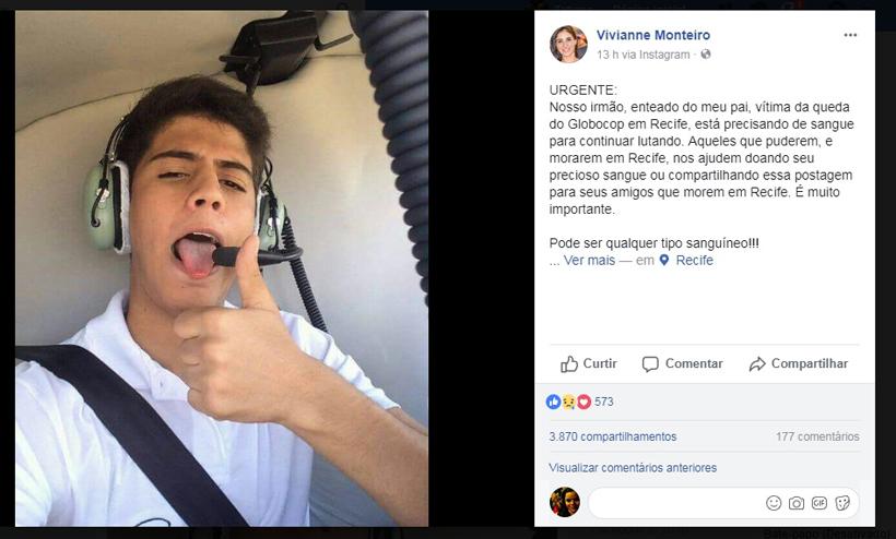 Irmã de Miguel pediu doações nas redes sociais