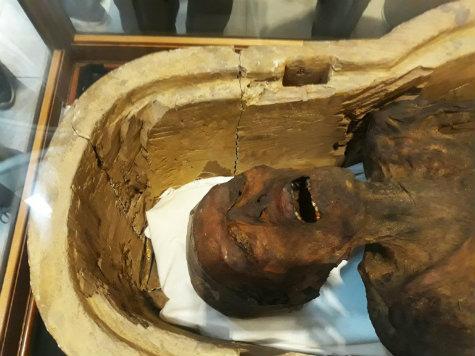"""A """"múmia que grita"""", oficialmente denominada """"homem desconhecido E"""", exposta no Museu Egípcio do Cairo"""