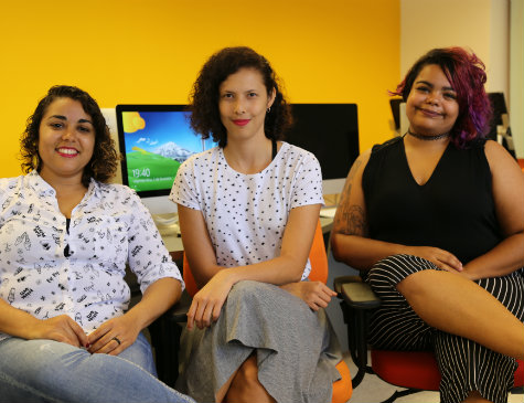 Tatyane Calixto, Catarina Macena e Camila dos Anjos participam do Portomídia Game Jam das Minas