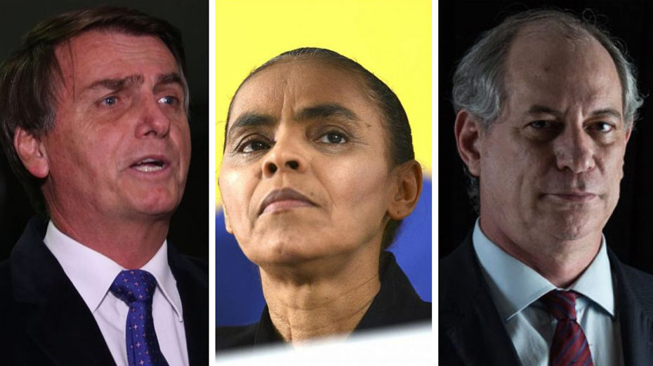 Bolsonaro, Marina Silva e Ciro Gomes