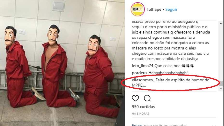 Elias Gomes comentou no post da FolhaPE no Instagram