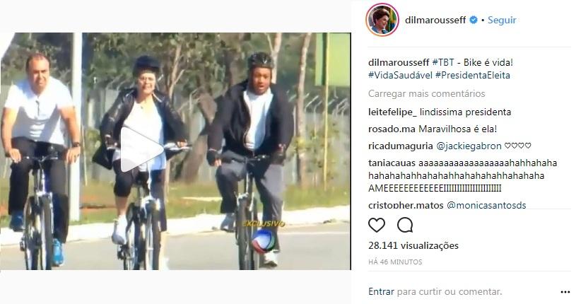 Dilma posta vídeo andando de bike
