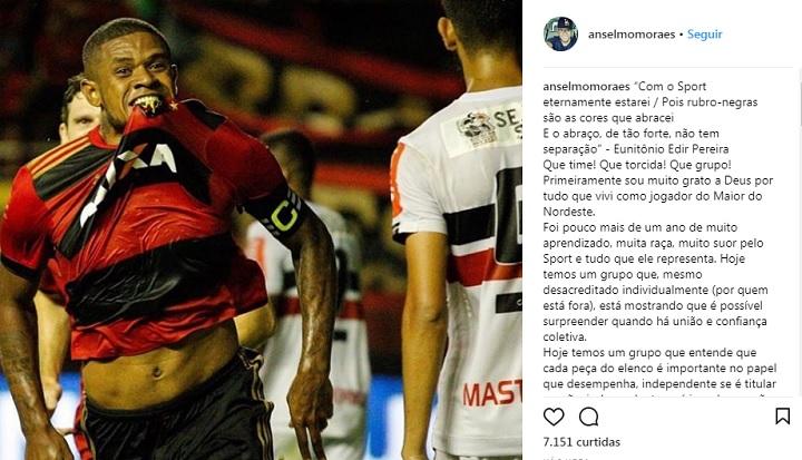 Volante Anselmo publicou texto se despedindo e agradecendo o carinho no Sport.
