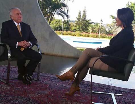 Michel Temer concede entrevista à jornalista Roseann Kennedy, no programa Nos Corredores do Poder, da TV Brasil