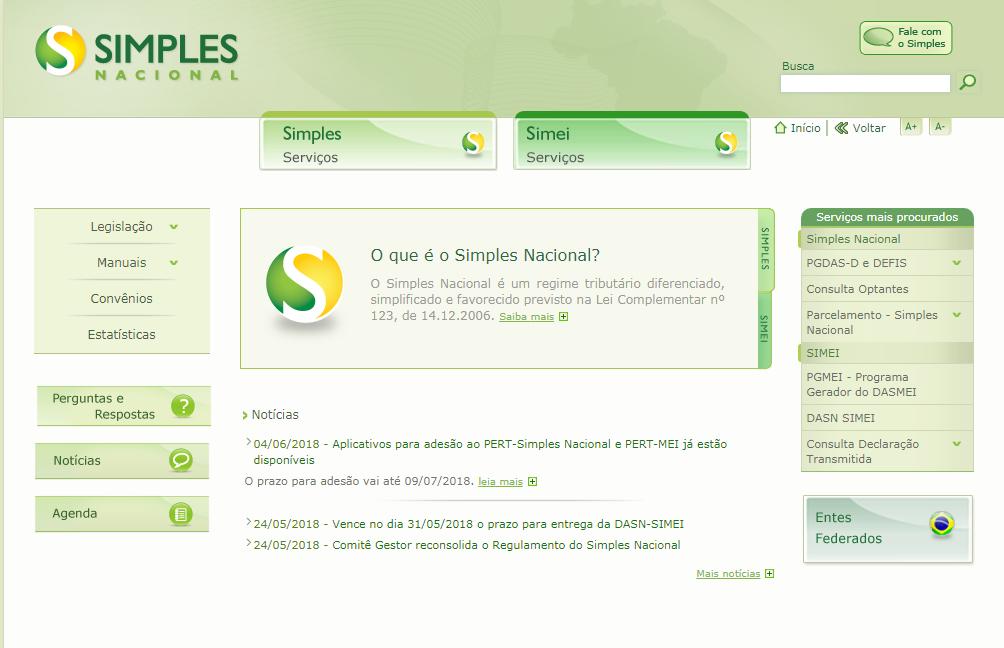Tela inicial do site do Simples