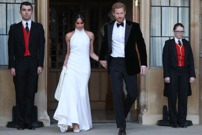 Meghan Markle com modelo Stella McCartney no seu casamento com o príncipe Harry