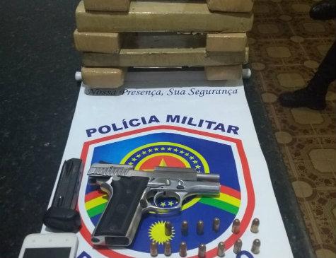 Polícia Militar prende suspeito com arma de fogo e drogas