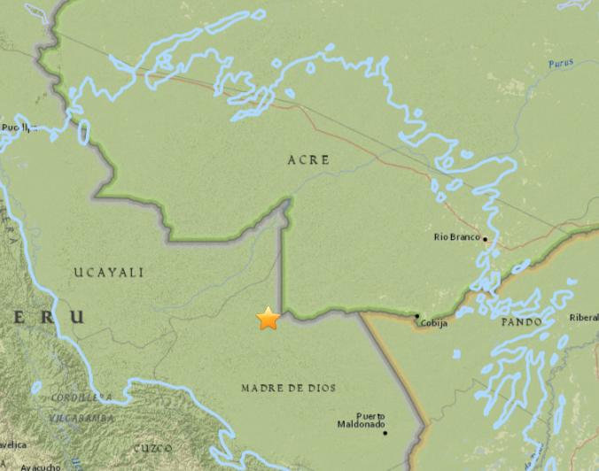 Epicentro do tremor foi registrado na fronteira do Brasil com o Peru