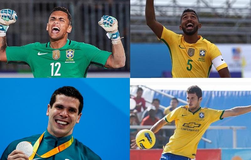 """Rafael Augusto de Lima Padilha (beach soccer), Filipe Duarte da Silva (beach soccer), Phelipe Rodrigues (natação) e Fernando """"DDI"""" Luiz  de Oliveira Valença (beach soccer)"""