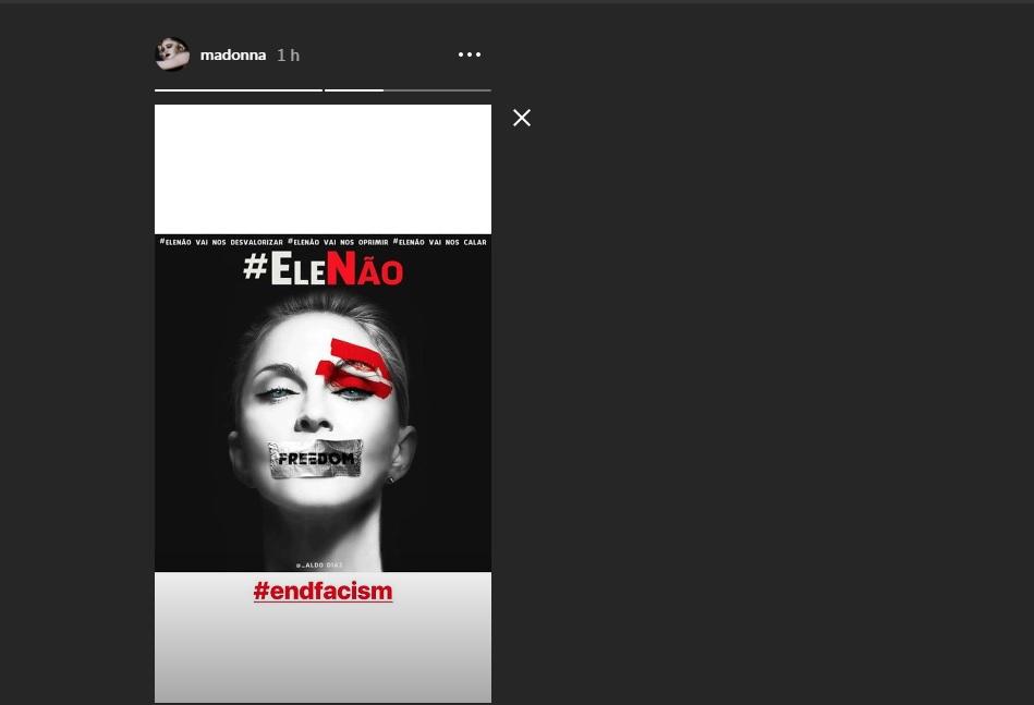 Madonna publica protesto contra Bolsonaro