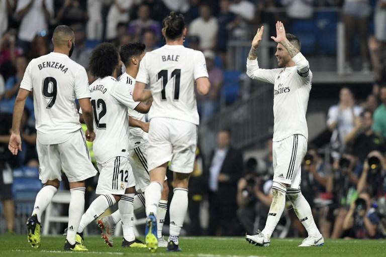 Jogadores comemoram o gol pela Copa do Rei