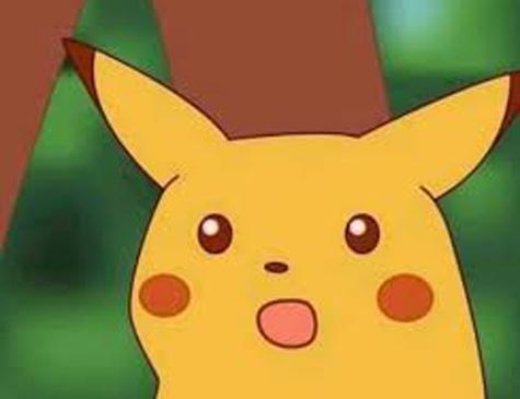 Retirada do fundo da primeira temporada de Pokemón, a imagem do Pikachu surpreso renasceu em 2018 para expressar choque e surpresa.
