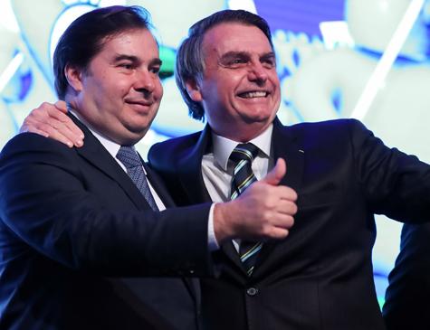Presidente da Câmara dos Deputados, Rodrigo Maia e o Presidente da República, Jair Bolsonaro
