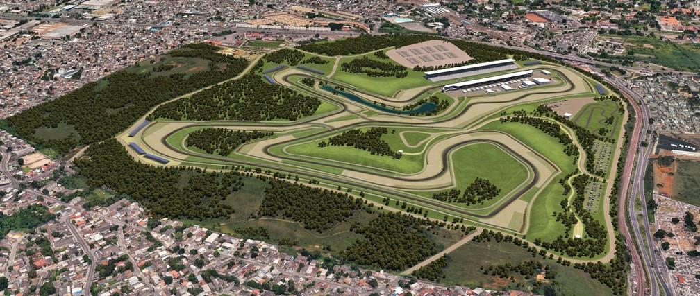 Imagem do projeto do novo autódromo do Rio de Janeiro