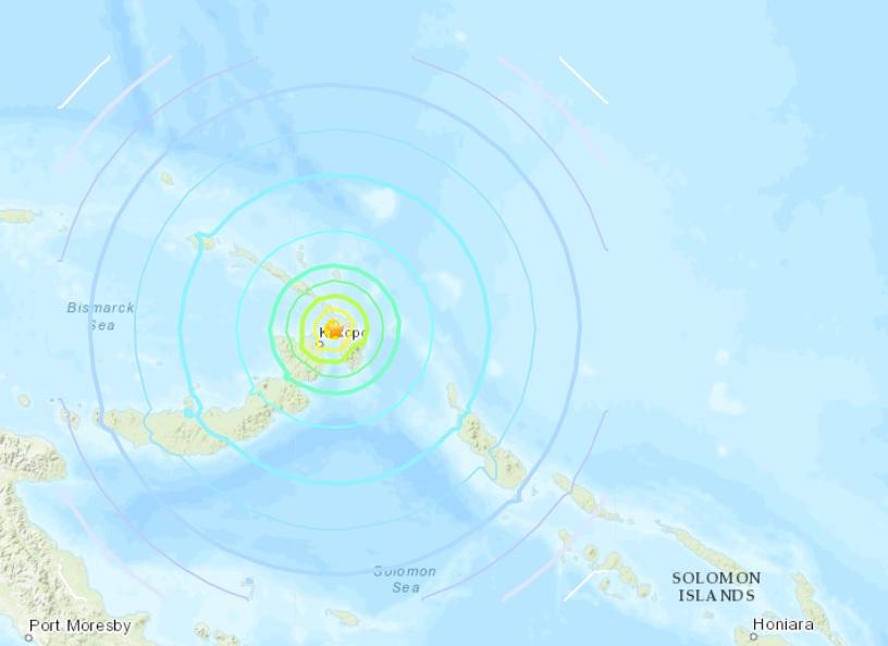 Epicentro do tremor foi registrado próximo à cidade de Kokopo