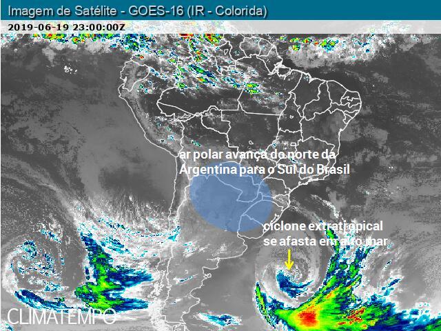 Ciclone extratropical se afasta do Uruguai