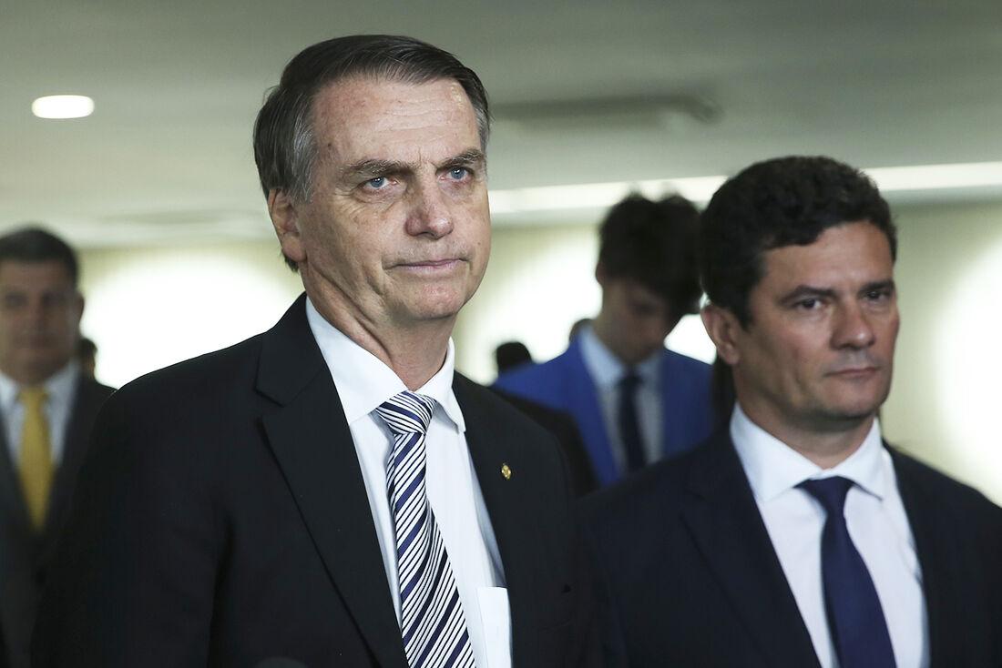 O presidente Jair Bolsonaro e o ministro da Justiça e Segurança Pública, Sergio Moro