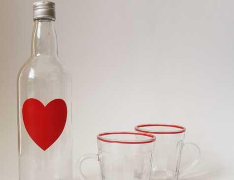 Garrafa de coração para água ou suco