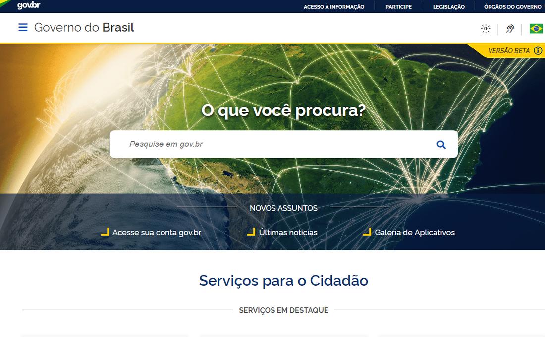 O governo federal disponibiliza, a partir desta quarta-feira (31), a primeira etapa do portal gov.br, site único do governo na internet que reúne serviços e informações para o cidadão