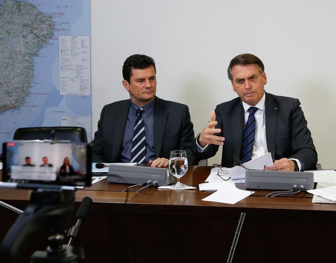 Presidente Jair Bolsonaro e o Ministro Sérgio Moro