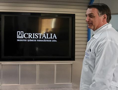 Jair Bolsonaro durante visita de inauguração do laboratório