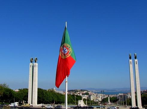 Bandeira de Portugal no mastro