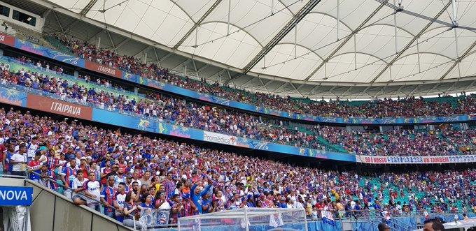 Estádio da Fonte Nova foi palco do empate entre Bahia e Fortaleza.