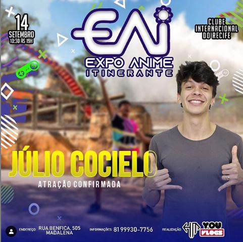 Julio Cocielo será uma das atrações da Expo Anime Itinerante