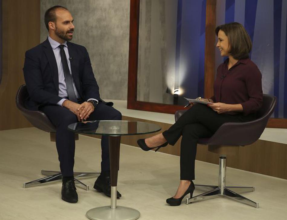 Eduardo Bolsonaro concede entrevista ao programa 'Impressões', da TV Brasil