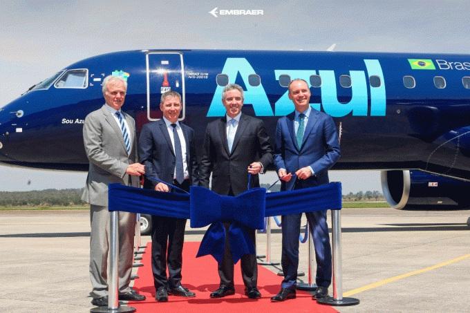 Azul: empresa recebeu maior avião já produzido pela Embraer