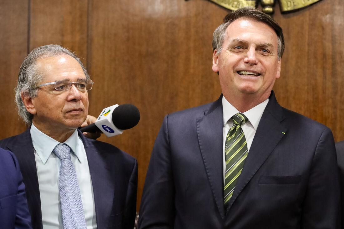 Ministro da economia Paulo Guedes, e o presidente da república Jair Bolsonaro