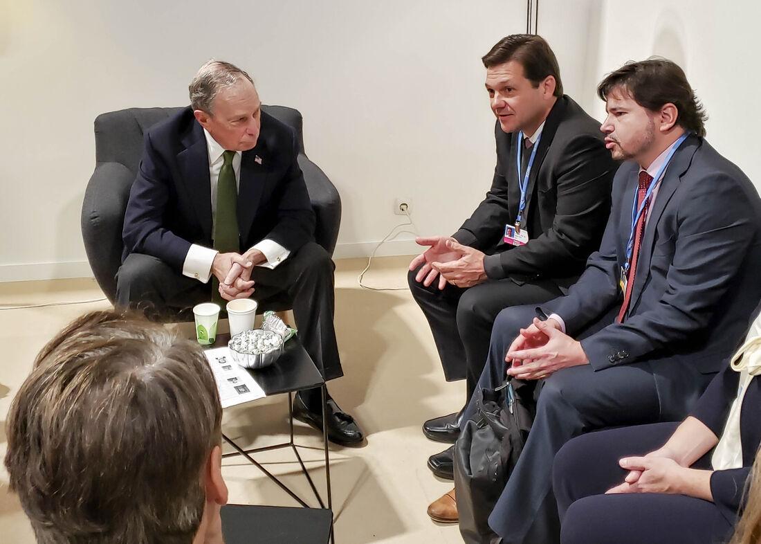 O prefeito Geraldo Julio apresentou ao fundador do Pacto, ex-prefeito de Nova Iorque e pré-candidato a presidente dos Estados Unidos, os avanços do Recife na questão climática