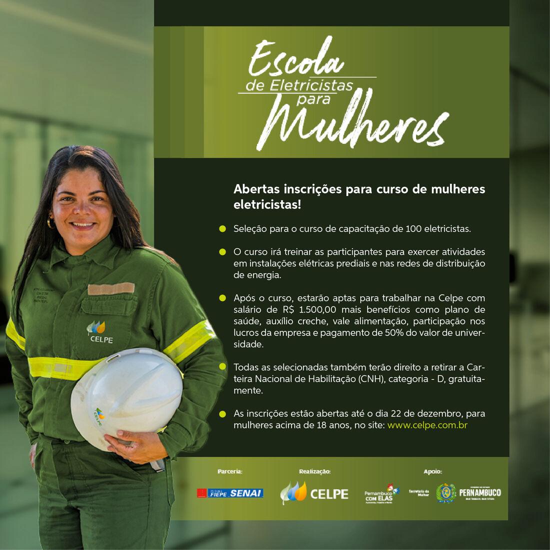 O curso irá treinar as participantes para exercer atividades em instalações elétricas prediais e nas redes de distribuição de energia