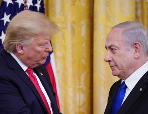 Donald Trump e Benjamin Netanyahu em encontro nessa terça-feira em Washington