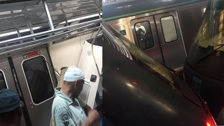 Colisão entre dois trens do Metrô Recife na Linha do Centro